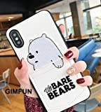 Twinlight Luxury Pu Leather Cartoon Bear Phone Case for iPhone 6 Xs XS MAX XR 7 8 Plus Soft TPU Cover with Card Pocket Bags Fundas (White, for iPhone 7plus 8plus)