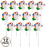 Bedwina Unicorn Lollipops (Pack of 12) - Magical Pops for Party Favors, Christmas Treats, Candy Suckers Cake Decorations