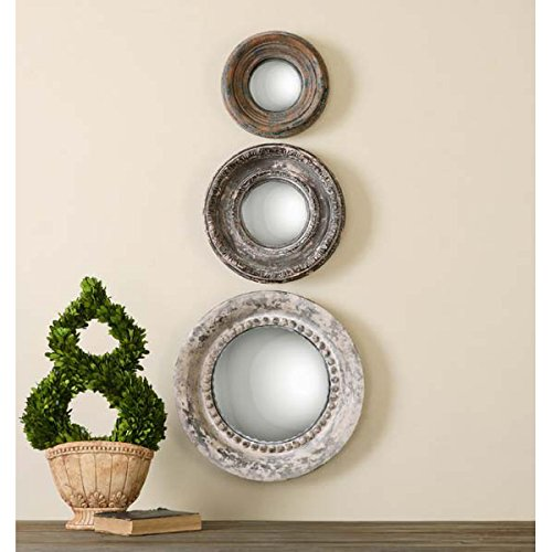 Tuscan Style Decorative Round Convex Wall Mirrors Set of 3 (Mirror Tuscan Style)