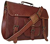 16 inch Vintage Leather Messenger Bag Briefcase/Fits Upto 15.6 inch Laptop