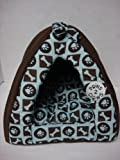 """40cm 15x15x16"""" Brown/Light Blue Pet Bed Condo Tent House for Small Dog or Cat"""