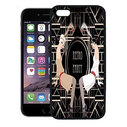 (Emvency Phone Case for iPhone 8 Plus case Cover,1920S Flapper Girl Retro Party Speakeasy Roaring 20S Mafia Nostalgia,Rubber Border Protective)