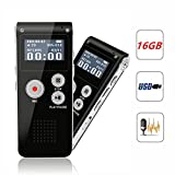 Digital Voice Recorder, Portable Recorder, Multifunctional Rechargeable Dictaphone, FlatLED Audio Voice Recorder Dictaphone, MP3 Music Player with Mini USB Port and Color LCD display, 16GB (Black)