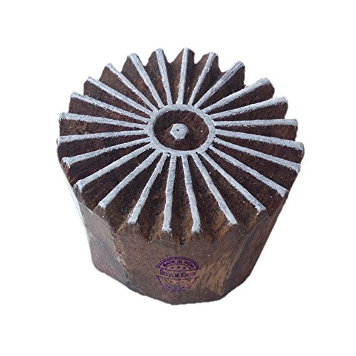 Hand Carved Printing Stamps Line Round Motif Wood Blocks