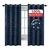 H.VERSAILTEX Full Blackout Thermal Insulated Curtain Panels Star Curtains for Boys Room Grommet