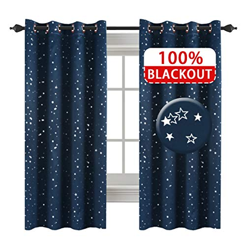 H.VERSAILTEX Full Blackout Thermal Insulated Curtain Panels Star Curtains for Boys Room Grommet Star Curtains for Kids Room, 52 x 63 - Inch - 1 Panel (Panel Free Bed Time)