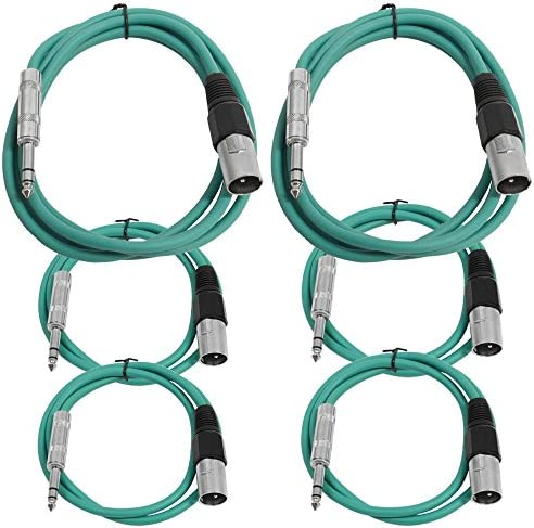 Seismic Audio - SATRXL-M6C-Green - 6 Pack of Green XLR Male to 1/4 Inch TRS Patch Cables- XLR to TRS Cable Kit - Two 6 ft Two 3 Ft Two 2 ft XLR-M to 1/4 Patch Cords