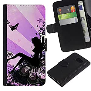 Planetar® Modelo colorido cuero carpeta tirón caso cubierta piel Holster Funda protección Para Samsung Galaxy S6 / SM-G920 ( Lady Butterfly Tinta Mujer)