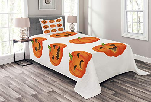 Lunarable Pumpkin Bedspread, Jack o Lanterns with Various Face Expressions Winking Smiling Sad Surprised Image, Decorative Quilted 2 Piece Coverlet Set with Pillow Sham, Twin Size, Orange Green -