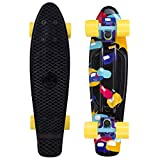 Cal 7 Complete Mini Cruiser | 22 Inch Micro Board | Vintage Skateboard for School and Travel (Jellybean)