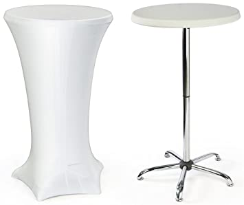 Amazon.com : Cocktail Table With White Spandex Cover Includes both ...