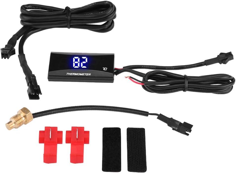 KIMISS Digital Thermometer Motorrad Digital Thermometer Instrument Wasser Temperatur Meter Messger/ät Blaues Licht