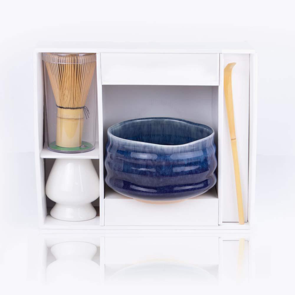 Whisk Stand Elegant Design Chashaku Scoop Blue Tea Bowl Matcha Starter Set 120-Prong Whisk 4-Pieces Matcha Gift Set