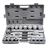 Goplus 21pcs SAE 3/4'' Drive Socket Set w/ Case Jumbo Ratchet Wrench Extension