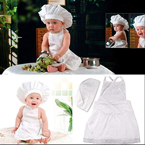 Cute Baby Cook Costume Photo Photography Prop Newborn Infant Hat Apron Chef Clothes DIY Funning Booth Props for Kids White -