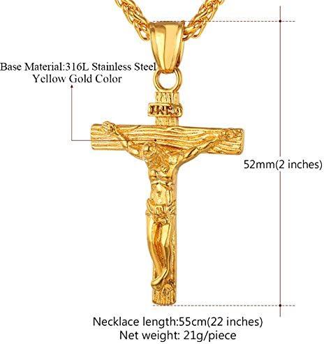 SWAOOS Hombres Inri Crucifijo Jes/ús Pieza De Acero Inoxidable Colgante Collar Cat/ólico Religioso Cruz De Oro Hip-Hop Joyer/ía Padre Regalo