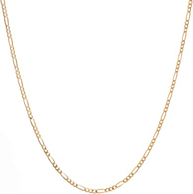"""14KT ITALY SOLID Yellow GOLD 1.3mm  FIGARO LINK CHAIN NECKLACE  18/"""" WOMEN/'S"""