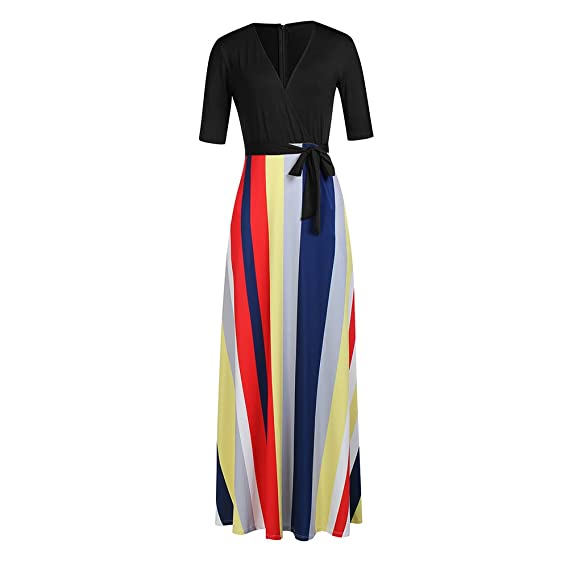 Mioloe Half Sleeve Stripes V Neck Womens Maxi Dress for Party Cocktail Club Casual Floor-Length Dress (Black, X-Large): Amazon.co.uk: Clothing