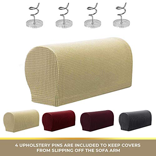 2 Pc Anti-Slip Spandex Stretch Fabric Sofa Armrest Cover Set | Recliner, Armchair, Couch Armrest Protector for Upholstered Furniture Fitted Jacquard Design Material | Strapless with Free PINS