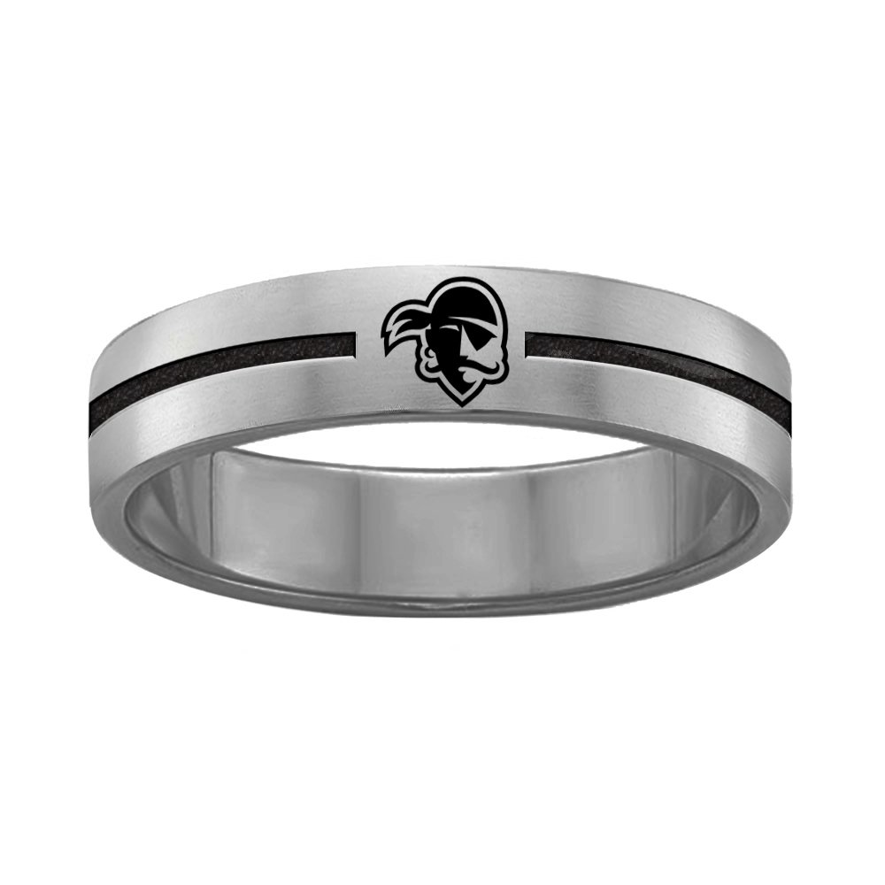 College Jewelry Quad Logo Seton Hall Pirates Rings Stainless Steel 8MM Wide Ring Band