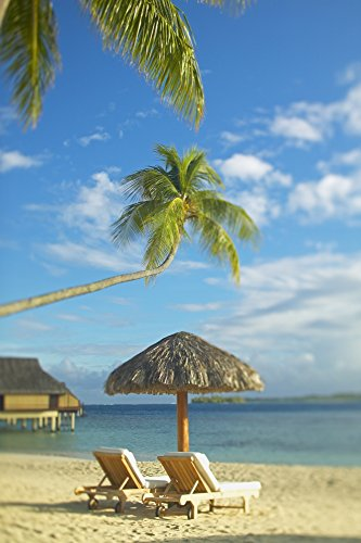 (Posterazzi French Polynesia Tahiti Bora Lounge Chairs and Thatch Umbrella On Beach with Tranquil Ocean and Bungalows Poster Print (12 x 19))