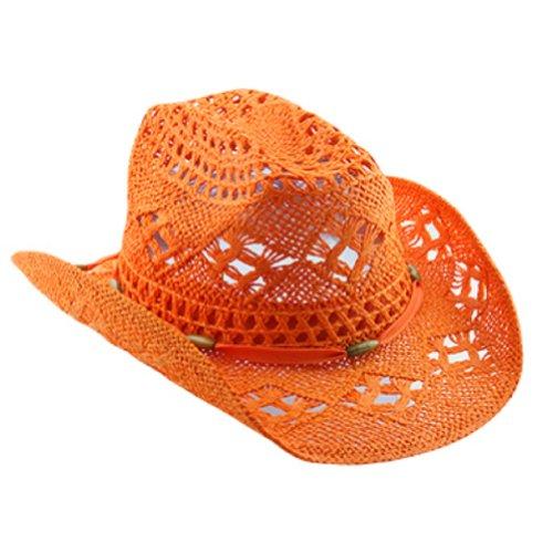 (Orange Stylish Toyo Straw Beach Cowboy Hat W/Shapeable Brim, Boho Modern)