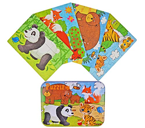 - Vileafy Jungle Animal Series Jigsaw Puzzle Sets, 4-Pack 4 Complexities, Best for 3-5 Years Old Babies to Develop Dexterity and Problem Solving, Free Iron Box for Easy Storage, 6 1/2