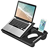 LapGear Ergo Pro Laptop Stand - Lap Desk with 20 Adjustable Angles, Mouse Pad, and Phone Holder - Black - Fits Up to 15.6 Inch Laptops and Most Tablets - Style No. 49408