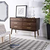 Safavieh SFV2100C Home Collection Madden Walnut Retro Dresser Brass