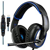 SADES R7 Gaming Headset, USB Headset Stereo Over-ear Gaming Headphones Supports Virtual 7.1-Channel Surround Sound with Retractable Microphone EQ Bass Boost Button LED Backlit for PC & Mac(Black) For Sale