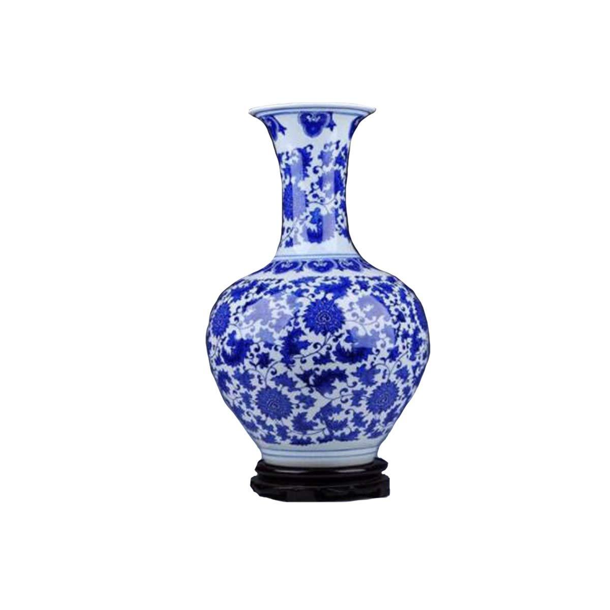 SHENGSHIHUIZHONG 陶磁器の装飾品、景徳鎮セラミックス、高級白黒磁器の花瓶、モダンな家の装飾、家の装飾、ラージ、ボトル、 中華風 (Color : Blue1) B07SQPKS1Q Blue1
