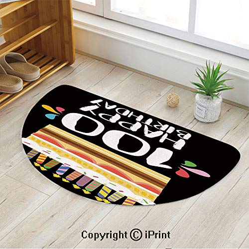 LEFEDZYLJHGO Mat Half Circle Thin Door Rug Semicircle Indoor for Bathroom,Old Legacy 100 Birthday Party Cake Candles on Black ()