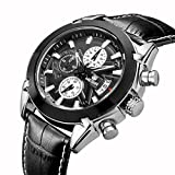 Men's Fashion Leather Band Wrist Watches Tag For Men Luxury Stainless Steel Watch Waterproof Large Face