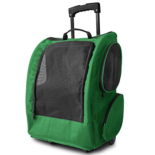 OxGord Dog Pet Carrier Rolling Backpack Cat Easy Walk Travel Tote Premium Quality Airline Approved - 2015 Newly Designed (Green)