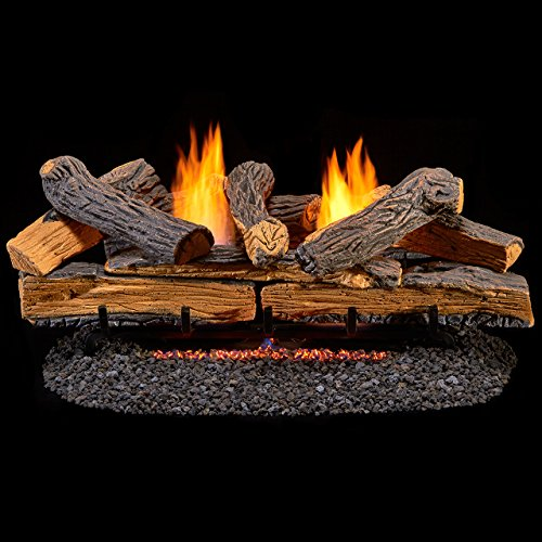 30 Inch Split Oak Vent (Duluth Forge Ventless Dual Fuel Log Set - 30 in. Split Red Oak - T-Stat Control)