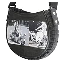 Crossbody made from scooter tire and inner tube - FREE SHIPPING, upcycled style eco friendly vegan recycled of reclaimed materials repurposed bag gift gifts for innertube tubes bike bikes rubber black