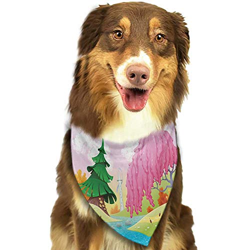 Cute pet Scarf Cartoon Fantasy Landscape with Unusual Trees Riverside Drawing Spring Summer Season Print W27.5 xL12 Scarf for Small and Medium Dogs and ()