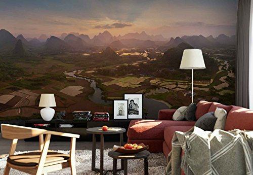 Photo wallpaper wall mural - Mountains Valley Fields River Canal - Theme Travel & Maps - L - 8ft 4in x 6ft (WxH) - 2 Pieces - Printed on 130gsm Non-Woven Paper - 1X-711354V4 by Fotowalls Photo Wallpaper Murals