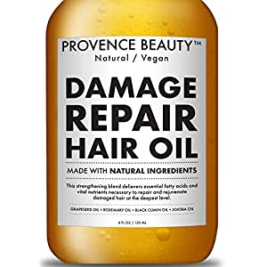 Repairing Hair Treatment Oil – Grapeseed, Rosemary, Black Cumin and Jojoba Oil – Restores Shine and Volume For Dry or Damaged Hair, Stimulates Hair Growth – 4 Fl Oz