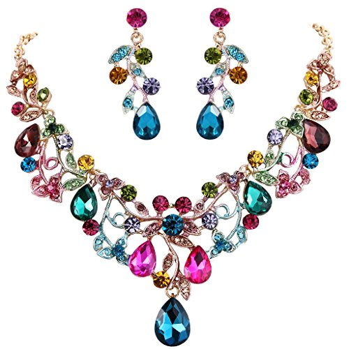 (BriLove Women's Bohemian Boho Statement Necklace Dangle Earrings Jewelry Set with Crystal Hollow Filigree Vine Leaf Colorful Multicolor Gold-Tone)