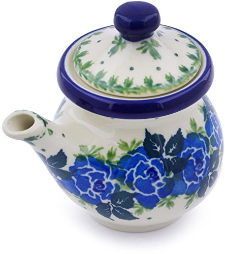 - Polish Pottery 4 oz Creamer with Lid made by Ceramika Artystyczna (Blue Garland Theme) + Certificate of Authenticity