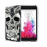 Untouchble Case for LG Aristo 2, LG Tribute Dynasty, LG Fortune 2 Case, LG Rebel 3 LTE Slim Case [Flex Max] Slim Flexible Gel Case Bump and Drop Protection - Rose Petal Skull
