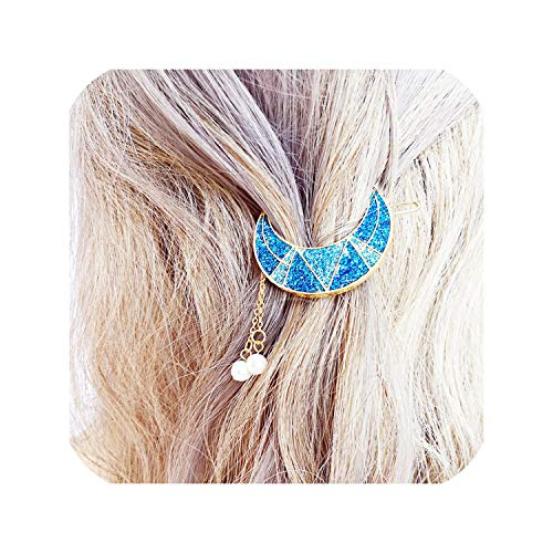 Female Retro Moon Quartz Six Prism Sweet Shiny Moon Beads Tassels Pendant Charm Hair Clip Hair Accessories For Girls Women,Yellow ()