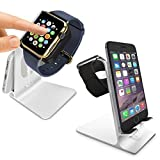 Orzly DuoStand Charge Station for Apple Watch & iPhone - Aluminum Desk Stand Cradle in SILVER with Built-In Insert Slots for both Grommet Wireless Charger and Lightning Cable for iPhone Models: 5 / 5S / 5C / 6 / 6 PLUS and both 42mm & 38mm sizes of 2015 Watch Models