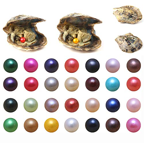 Akoya Oysters with Pearls Inside, 10PCS Oyster Saltwater with Round Pearl Inside Random Color (6.5-7.5mm)