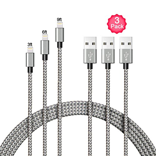 Cheap Lightning Cables A8 POWER Lightning Cable,3 Pack 3FT 6FT 9FT Nylon iPhone Charger Cable..