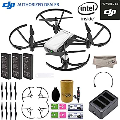 DJI Tello Quadcopter Drone Boost Combo with HD Camera and VR, comes 3 Batteries, 8 Propellers, Powered by DJI Technology and Intel 14-Core Processor, Coding Education, Throw and Go: Camera & Photo