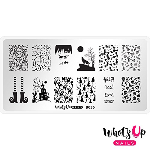Whats Up Nails - B036 Eeks and Screams Stamping Plate for Halloween Nail Art Design -