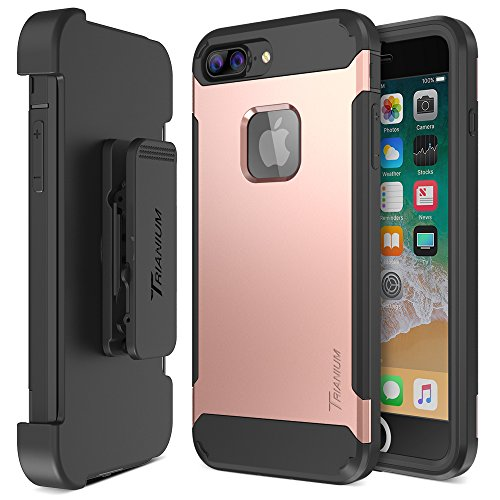 Trianium iPhone 8 Plus Case [Duranium Series] with Holster Heavy Duty Cover with Built-in Screen Protector for Apple iPhone 8 Plus Phone (2017) Belt Clip Kickstand [Full Body Protection] - Rose Gold
