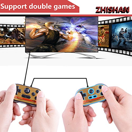 ZHISHAN Retro Games Controller Mini Classic Handheld Game Console Toys for Kids Gamepad Joystick Support Dual Battle Load in 260 Video Games Connect and Play with TV Gaming Station (Black+Blue) by ZHISHAN (Image #3)